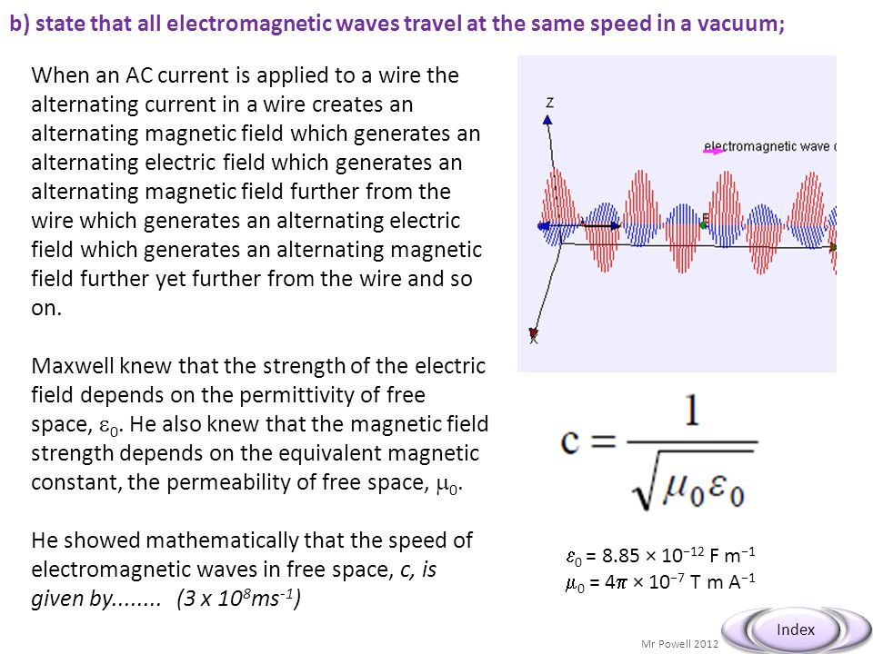 Mr Powell 2012 Index When an AC current is applied to a wire the alternating current in a wire creates an alternating magnetic field which generates a