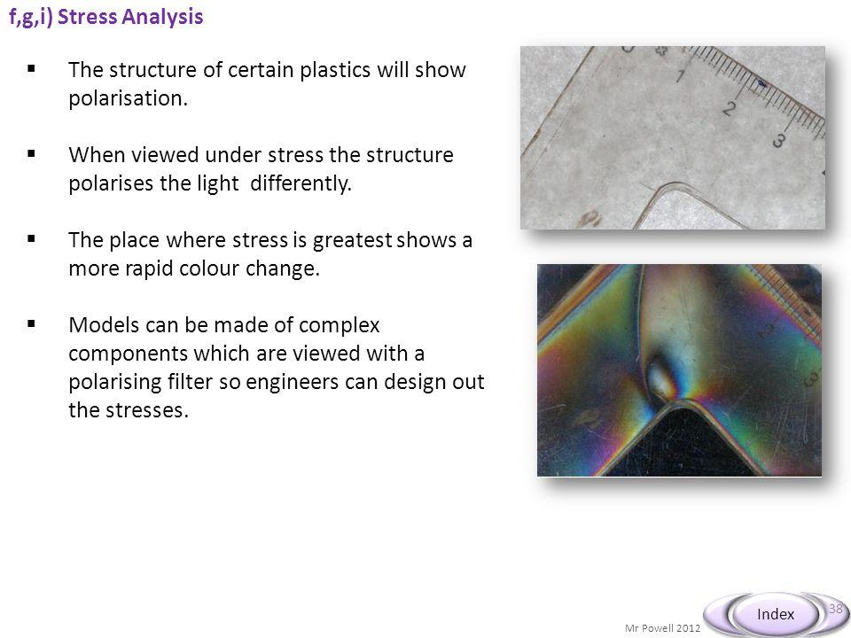 Mr Powell 2012 Index f,g,i) Stress Analysis © John Parkinson 38 The structure of certain plastics will show polarisation. When viewed under stress the