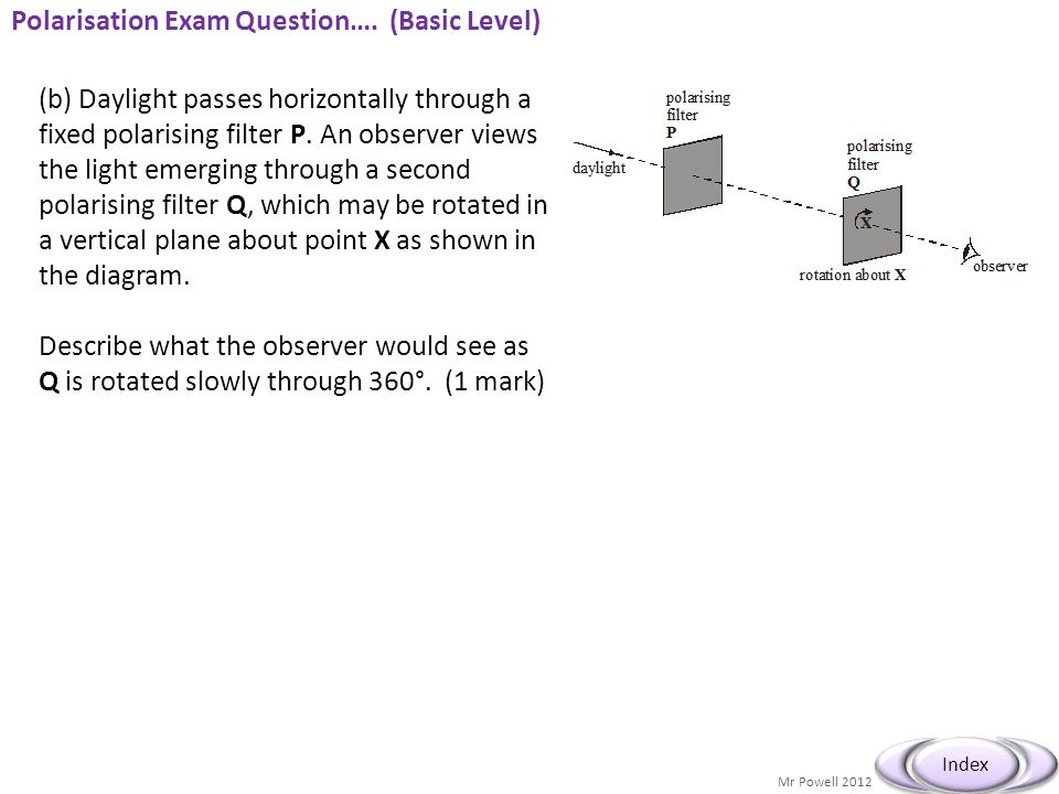 Mr Powell 2012 Index Polarisation Exam Question…. (Basic Level) (b) Daylight passes horizontally through a fixed polarising filter P. An observer view