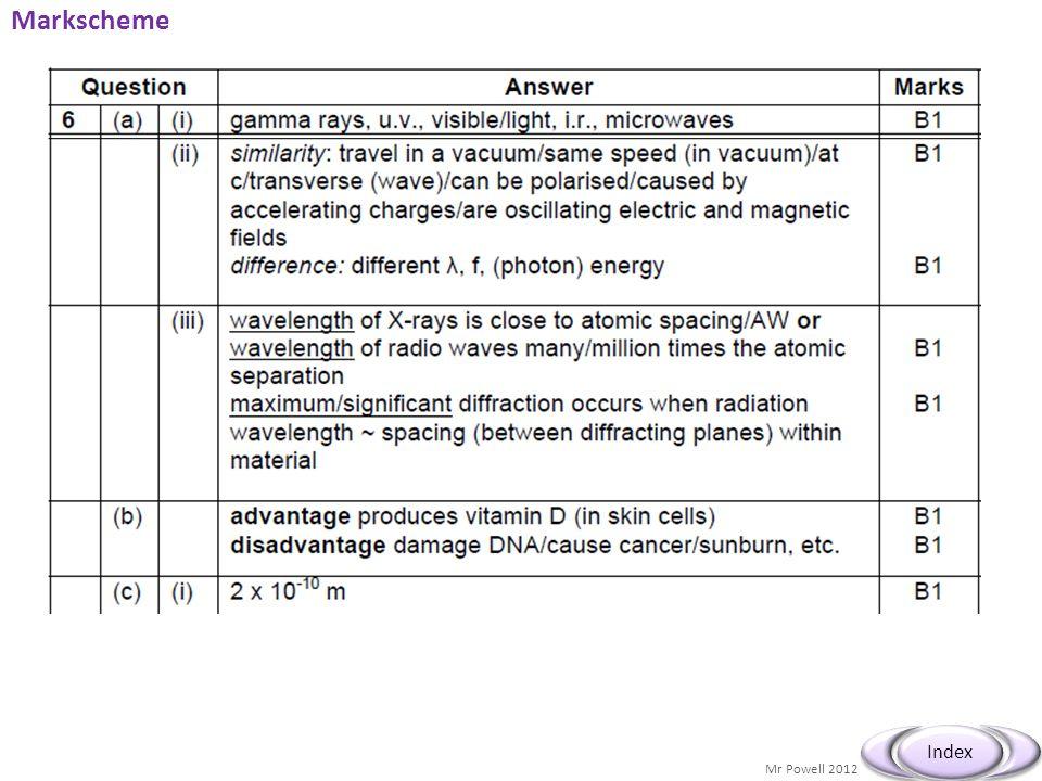 Mr Powell 2012 Index Markscheme