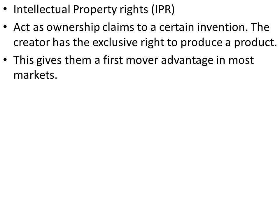 Patent is a legal right to produce a product.