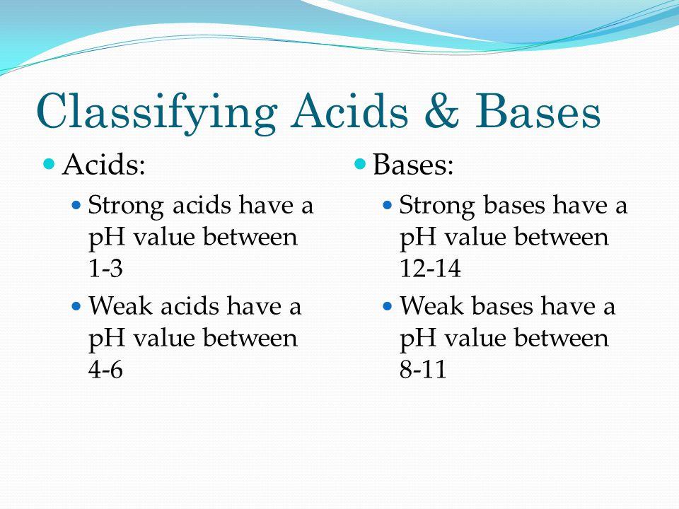 Classifying Acids & Bases Acids: Strong acids have a pH value between 1-3 Weak acids have a pH value between 4-6 Bases: Strong bases have a pH value b