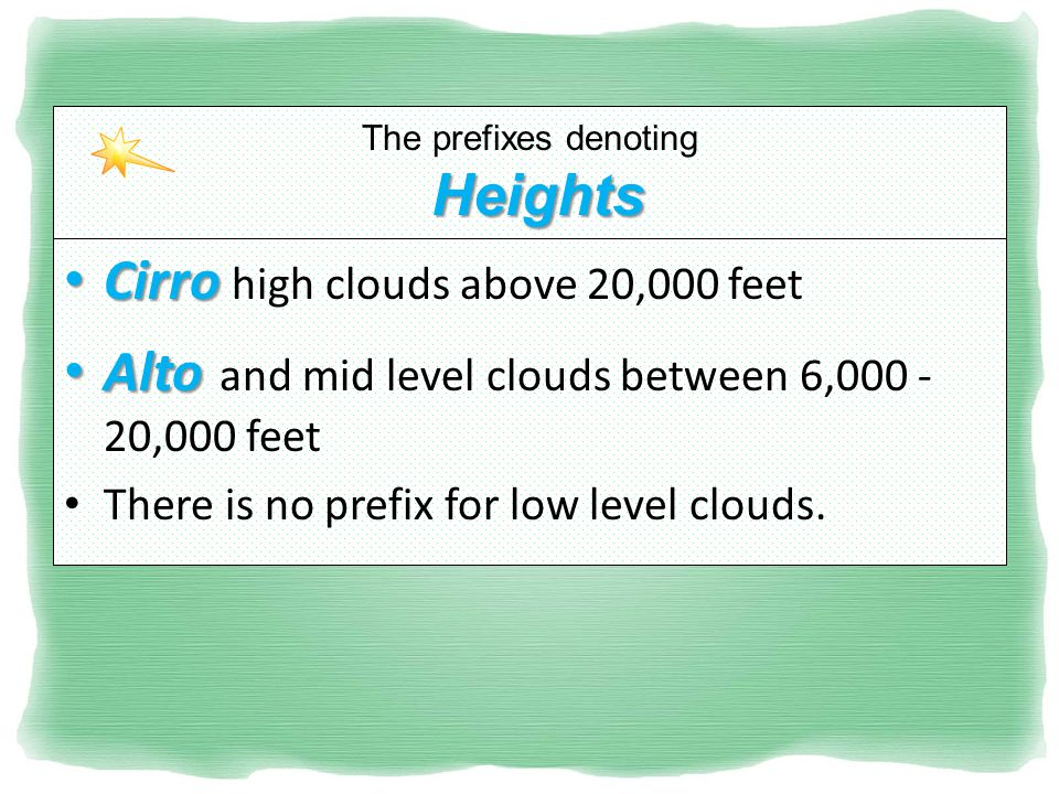 Heights The prefixes denoting Heights Cirro Cirro high clouds above 20,000 feet Alto Alto and mid level clouds between 6,000 - 20,000 feet There is no prefix for low level clouds.