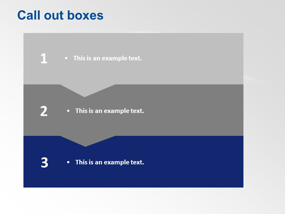 Call out boxes 1 2 3 This is an example text.