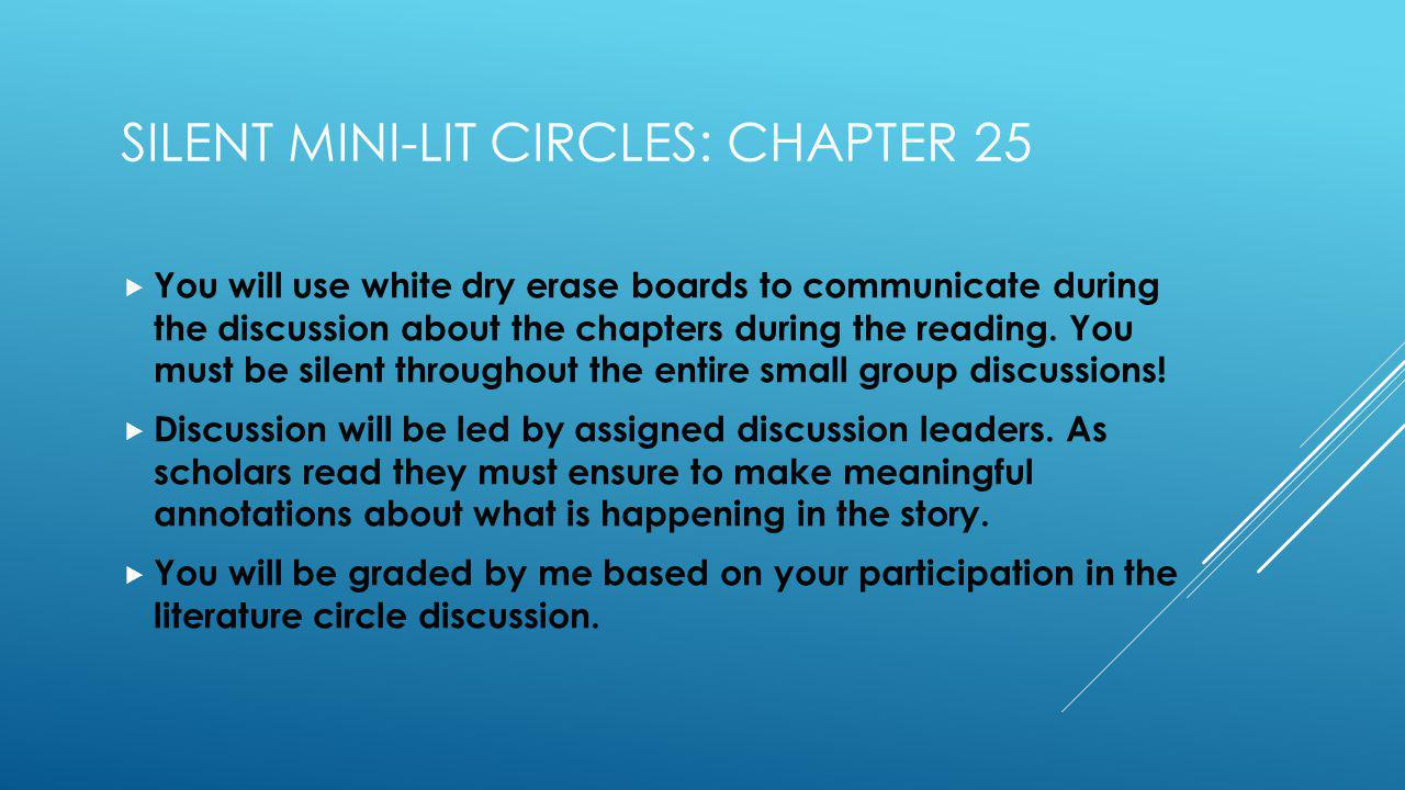 SILENT MINI-LIT CIRCLES: CHAPTER 25 You will use white dry erase boards to communicate during the discussion about the chapters during the reading.