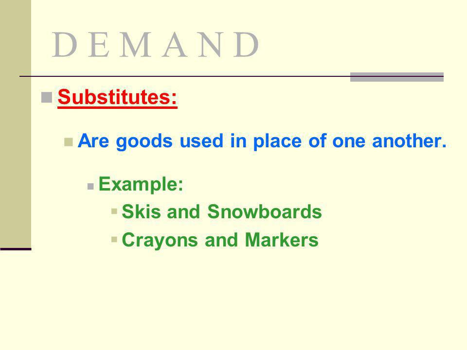 D E M A N D Substitutes: Are goods used in place of one another. Example: Skis and Snowboards Crayons and Markers