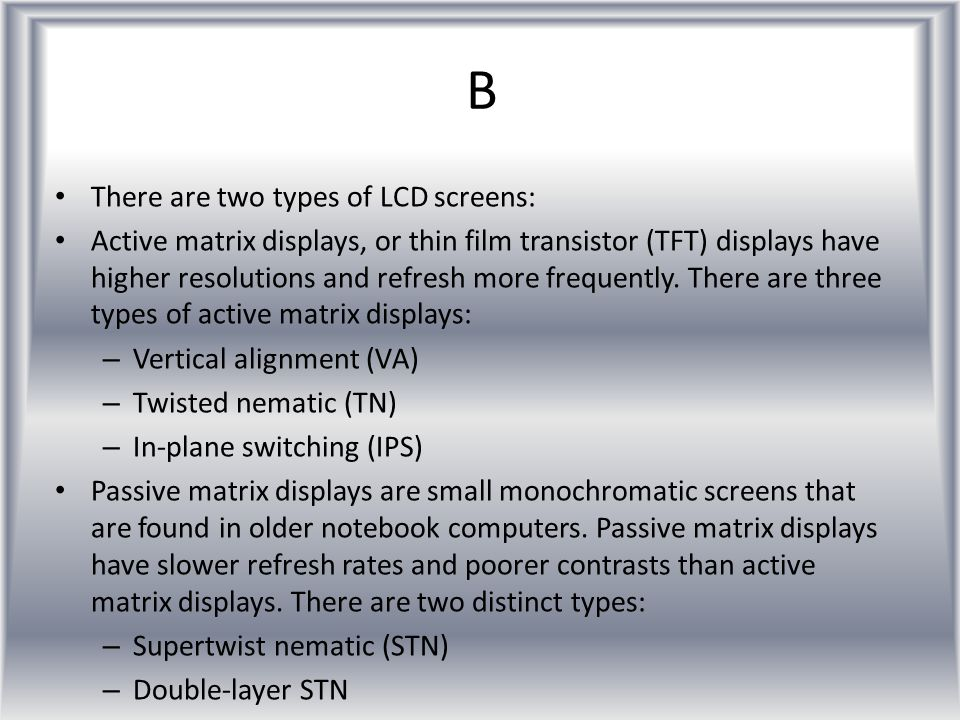 What is a LCD screen?What is a LCD screen? Newer models of computer screens use LCD technology. The images on the LCD screens are created when liquid