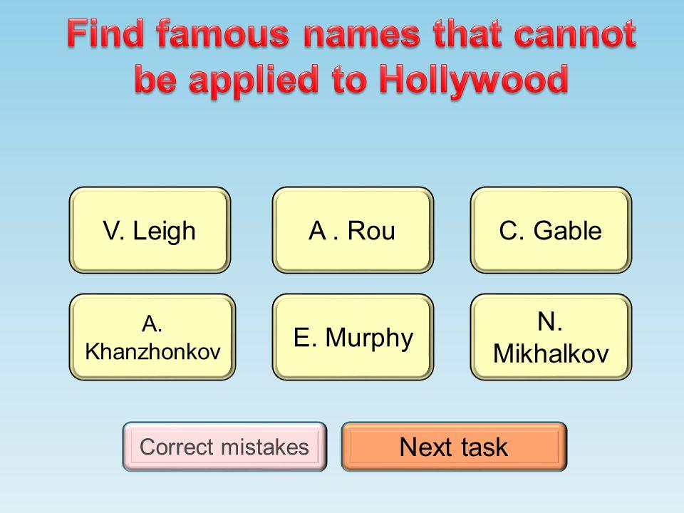 N. Mikhalkov A. Khanzhonkov A. Rou E. Murphy C. GableV. Leigh Correct mistakes Next task