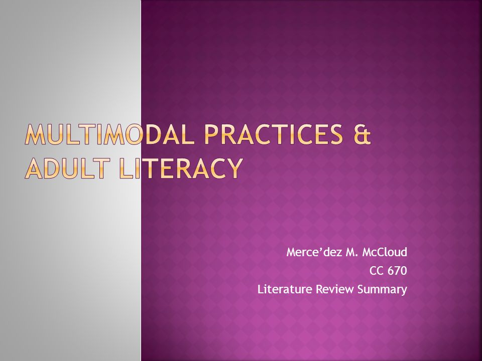 Mercedez M. McCloud CC 670 Literature Review Summary