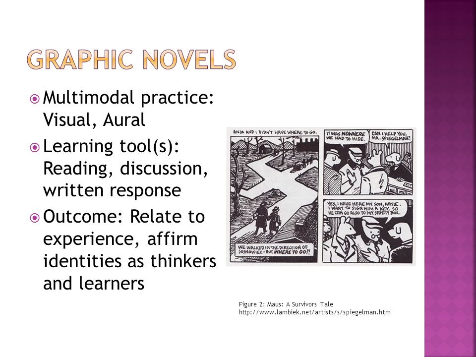 Figure 2: Maus: A Survivors Tale http://www.lambiek.net/artists/s/spiegelman.htm Multimodal practice: Visual, Aural Learning tool(s): Reading, discussion, written response Outcome: Relate to experience, affirm identities as thinkers and learners