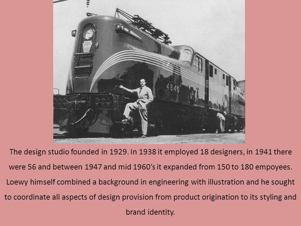 The design studio founded in 1929. In 1938 it employed 18 designers, in 1941 there were 56 and between 1947 and mid 1960s it expanded from 150 to 180