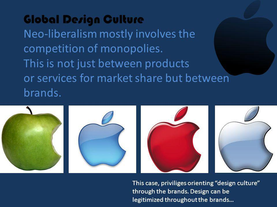 Global Design Culture Neo-liberalism mostly involves the competition of monopolies.