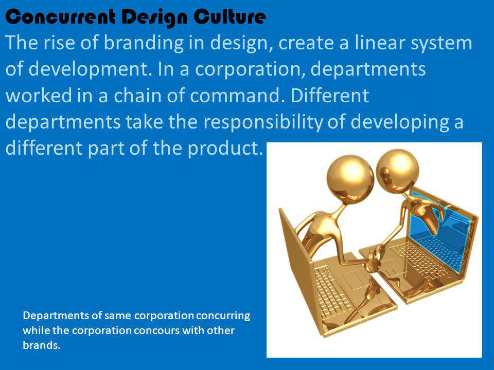 Concurrent Design Culture The rise of branding in design, create a linear system of development.