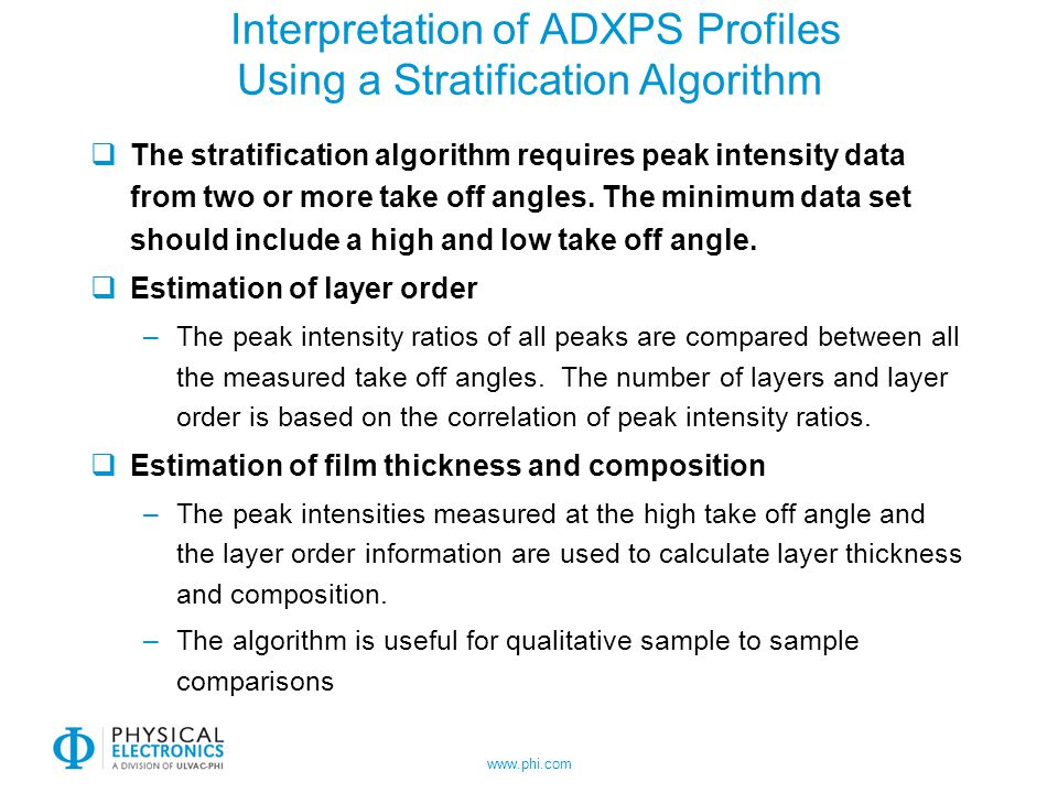 www.phi.com Interpretation of ADXPS Profiles Using a Stratification Algorithm The stratification algorithm requires peak intensity data from two or mo