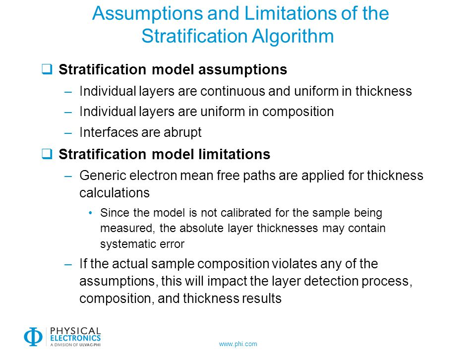 www.phi.com Assumptions and Limitations of the Stratification Algorithm Stratification model assumptions –Individual layers are continuous and uniform