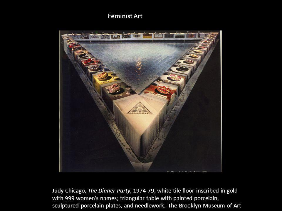 Judy Chicago, The Dinner Party, 1974-79, white tile floor inscribed in gold with 999 womens names; triangular table with painted porcelain, sculptured