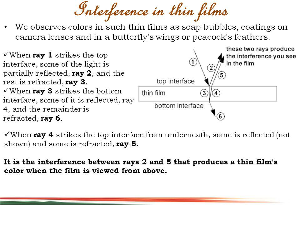 Interference in thin films We observes colors in such thin films as soap bubbles, coatings on camera lenses and in a butterfly s wings or peacock s feathers.