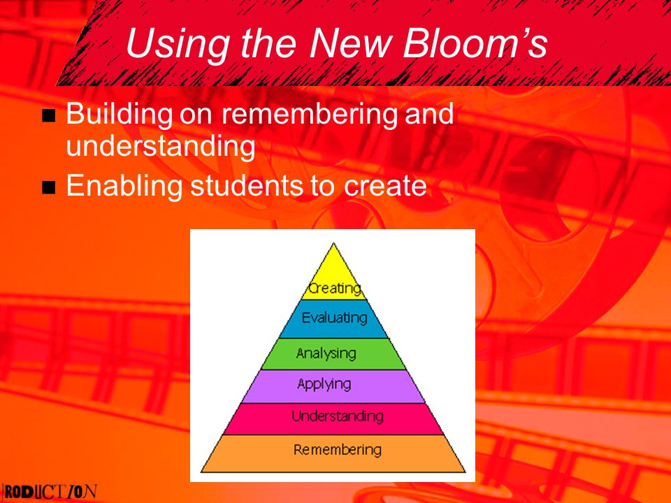 Using the New Blooms Building on remembering and understanding Enabling students to create