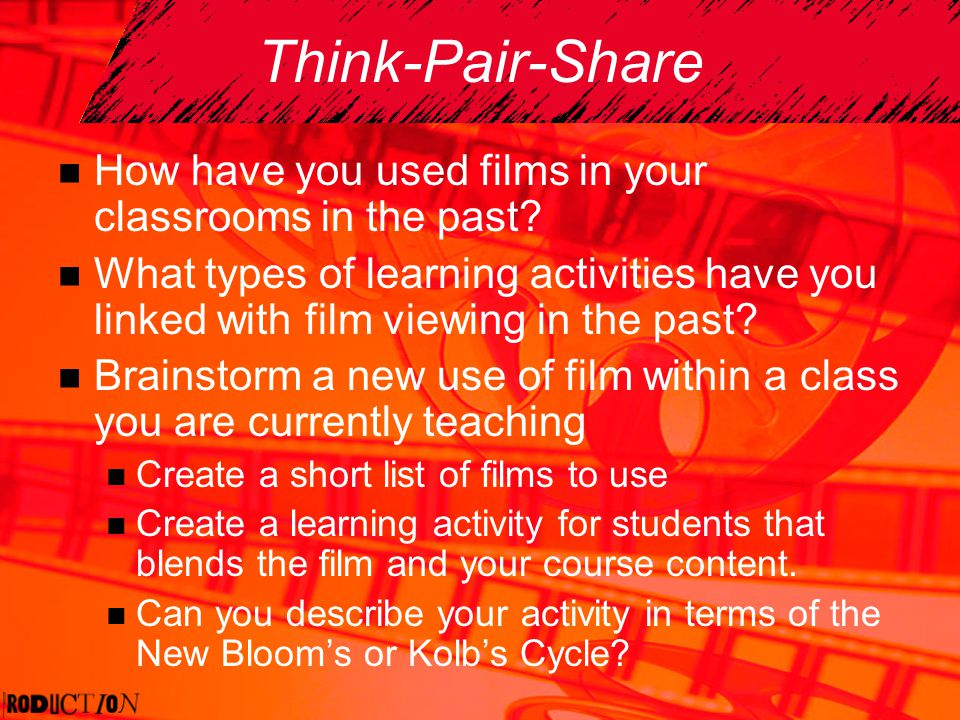 Think-Pair-Share How have you used films in your classrooms in the past? What types of learning activities have you linked with film viewing in the pa