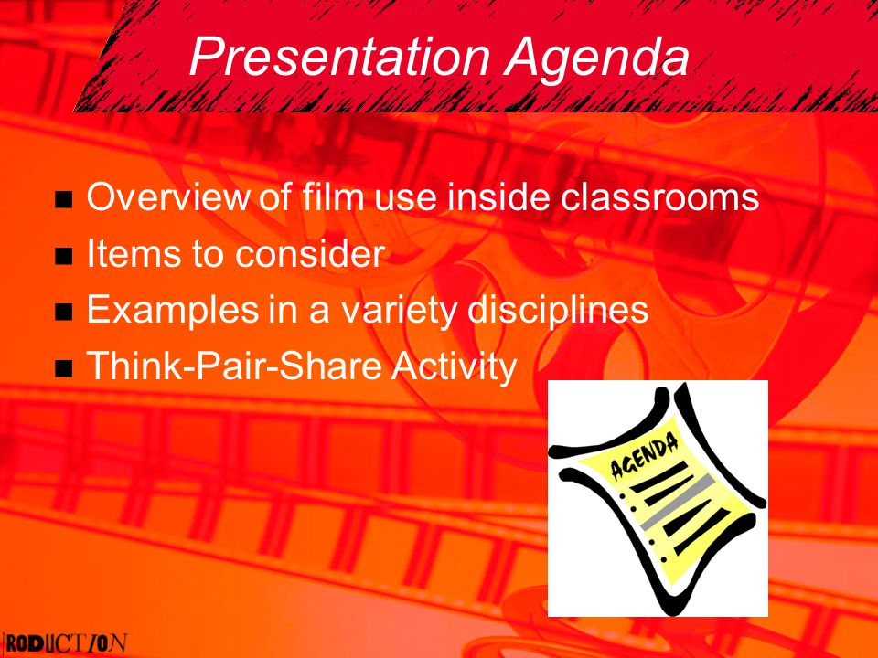 Presentation Agenda Overview of film use inside classrooms Items to consider Examples in a variety disciplines Think-Pair-Share Activity