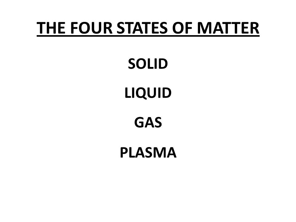 THE FOUR STATES OF MATTER SOLID LIQUID GAS PLASMA