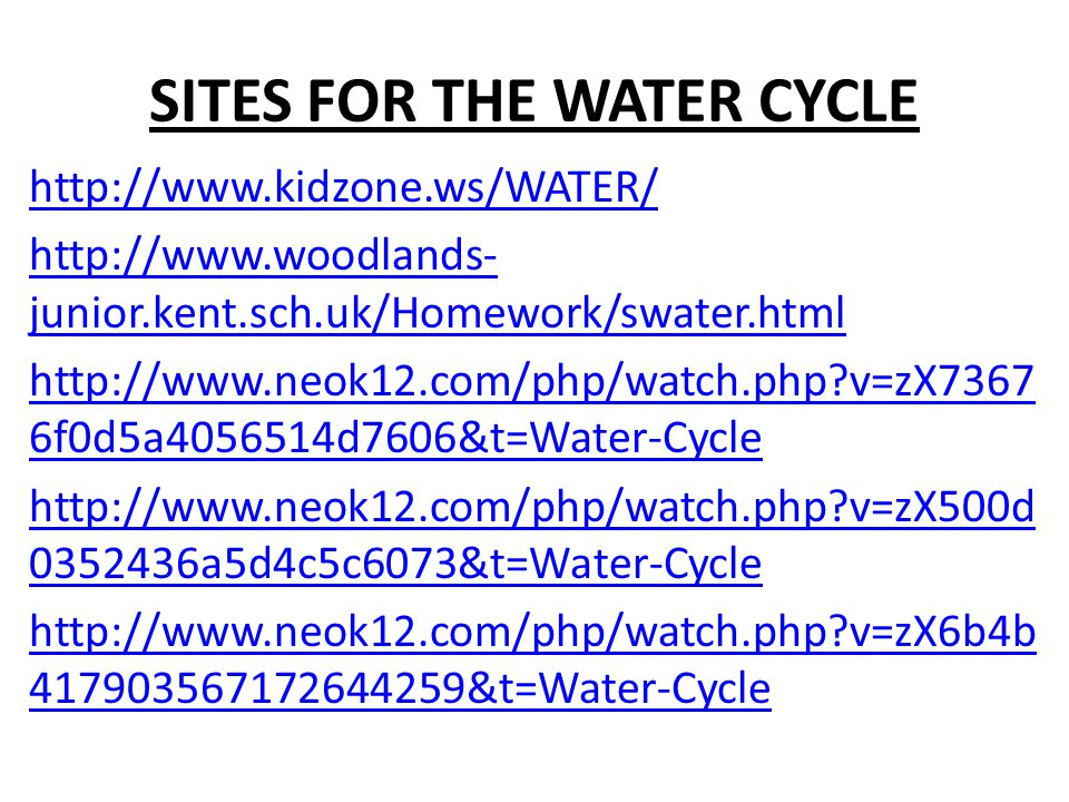 SITES FOR THE WATER CYCLE http://www.kidzone.ws/WATER/ http://www.woodlands- junior.kent.sch.uk/Homework/swater.html http://www.neok12.com/php/watch.php v=zX7367 6f0d5a4056514d7606&t=Water-Cycle http://www.neok12.com/php/watch.php v=zX500d 0352436a5d4c5c6073&t=Water-Cycle http://www.neok12.com/php/watch.php v=zX6b4b 417903567172644259&t=Water-Cycle