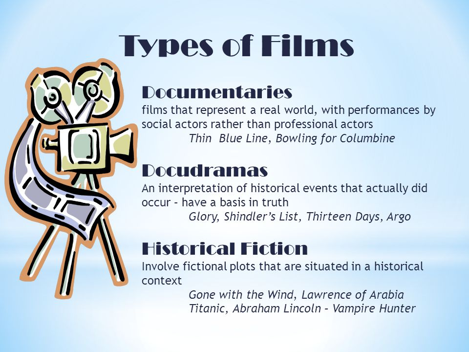 Types of Films Documentaries films that represent a real world, with performances by social actors rather than professional actors Thin Blue Line, Bowling for Columbine Docudramas An interpretation of historical events that actually did occur – have a basis in truth Glory, Shindlers List, Thirteen Days, Argo Historical Fiction Involve fictional plots that are situated in a historical context Gone with the Wind, Lawrence of Arabia Titanic, Abraham Lincoln – Vampire Hunter