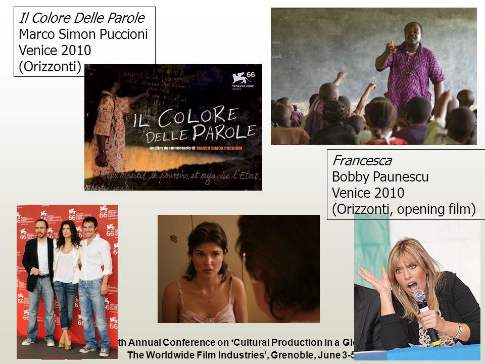 Fourth Annual Conference on Cultural Production in a Global Context: The Worldwide Film Industries, Grenoble, June 3-5, 2010 Il Colore Delle Parole Marco Simon Puccioni Venice 2010 (Orizzonti) Francesca Bobby Paunescu Venice 2010 (Orizzonti, opening film)