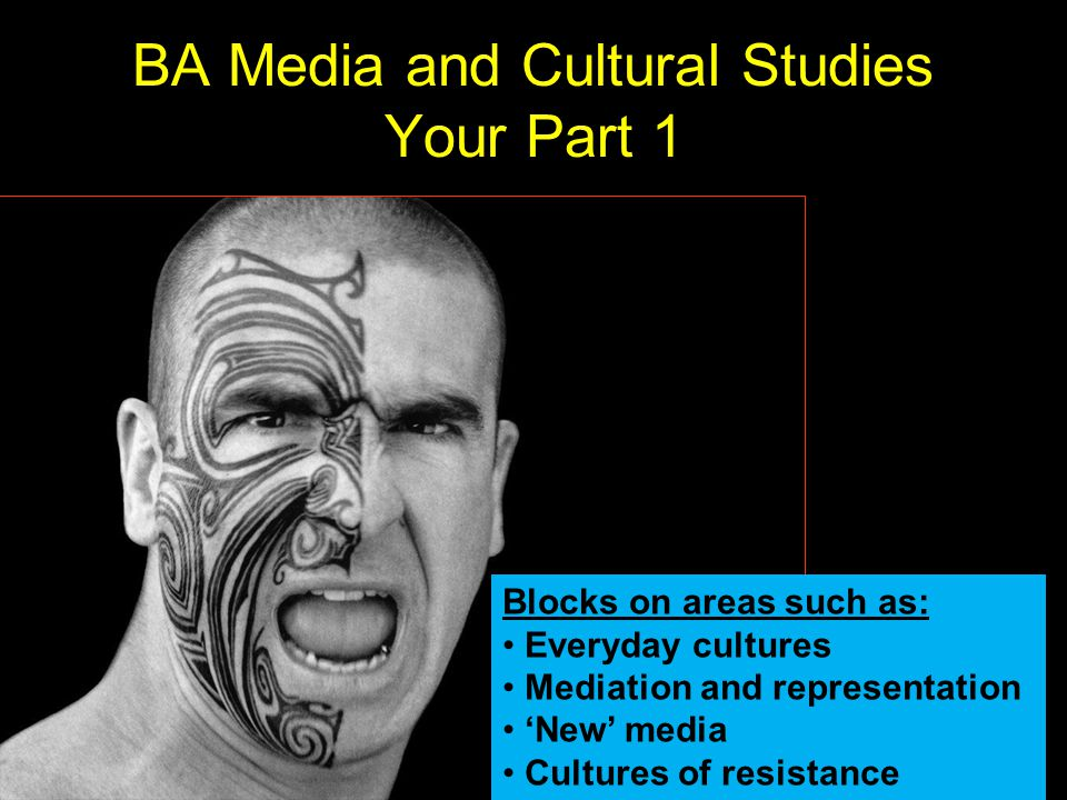 BA Media and Cultural Studies Your Part 1 Blocks on areas such as: Everyday cultures Mediation and representation New media Cultures of resistance