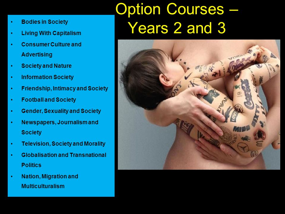 Option Courses – Years 2 and 3 Bodies in Society Living With Capitalism Consumer Culture and Advertising Society and Nature Information Society Friendship, Intimacy and Society Football and Society Gender, Sexuality and Society Newspapers, Journalism and Society Television, Society and Morality Globalisation and Transnational Politics Nation, Migration and Multiculturalism
