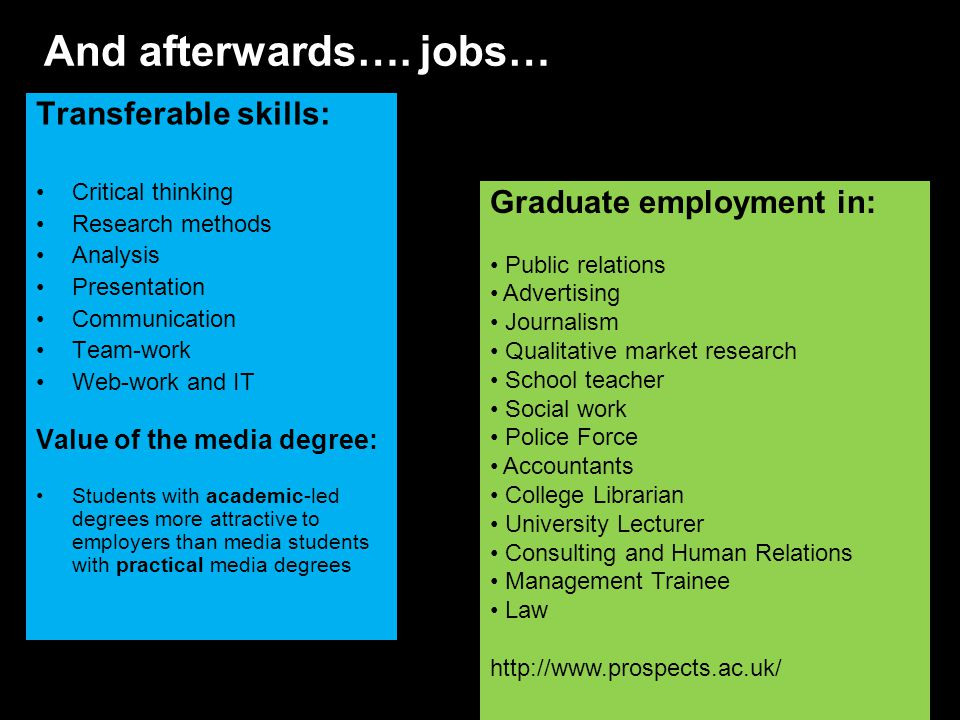 Transferable skills: Critical thinking Research methods Analysis Presentation Communication Team-work Web-work and IT Value of the media degree: Students with academic-led degrees more attractive to employers than media students with practical media degrees And afterwards….