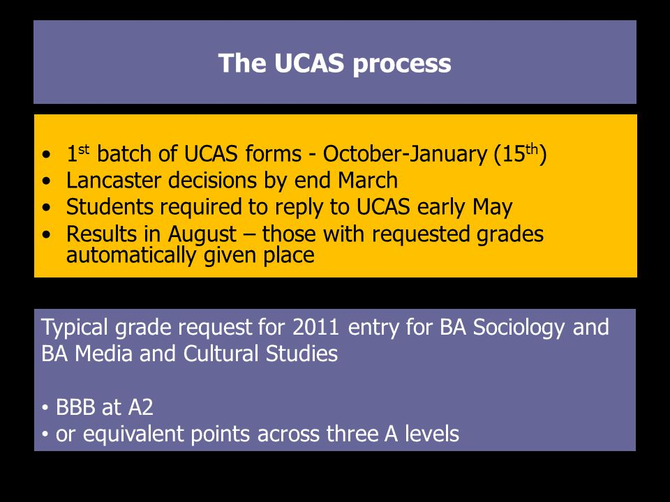 The UCAS process 1 st batch of UCAS forms - October-January (15 th ) Lancaster decisions by end March Students required to reply to UCAS early May Results in August – those with requested grades automatically given place Typical grade request for 2011 entry for BA Sociology and BA Media and Cultural Studies BBB at A2 or equivalent points across three A levels