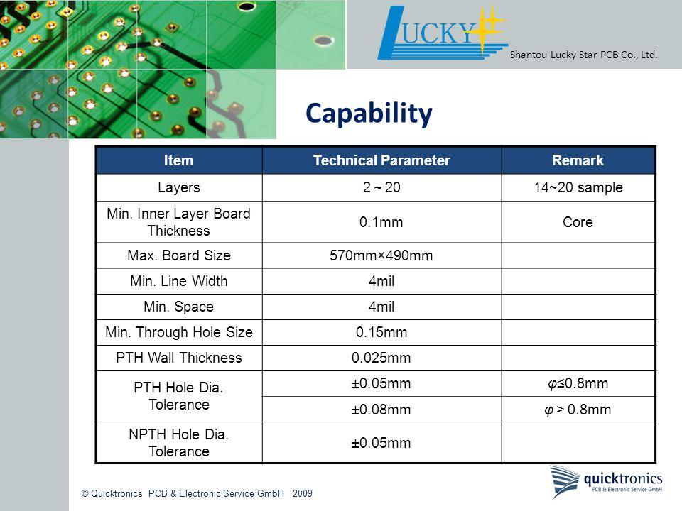 © Quicktronics PCB & Electronic Service GmbH 2009 Shantou Lucky Star PCB Co., Ltd. Capability ItemTechnical ParameterRemark Layers 2 20 14~20 sample M