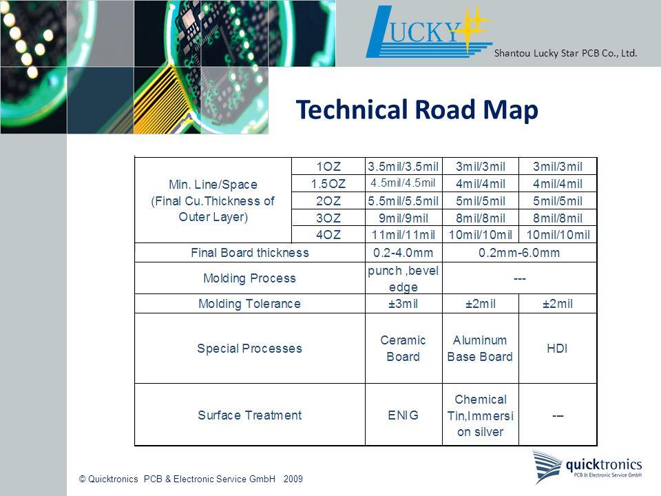 © Quicktronics PCB & Electronic Service GmbH 2009 Shantou Lucky Star PCB Co., Ltd. Technical Road Map