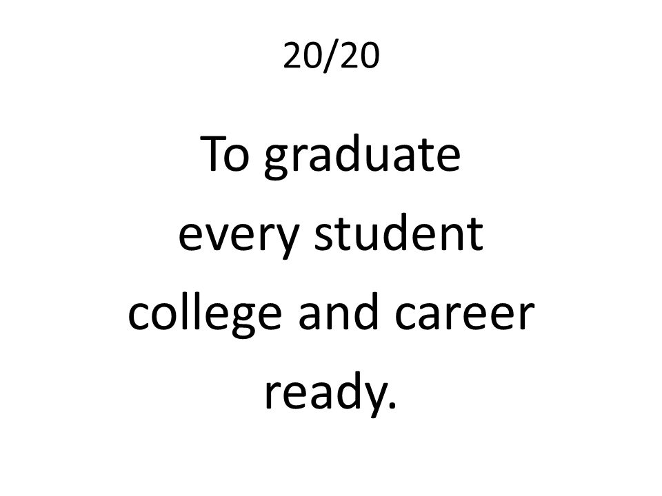 20/20 To graduate every student college and career ready.
