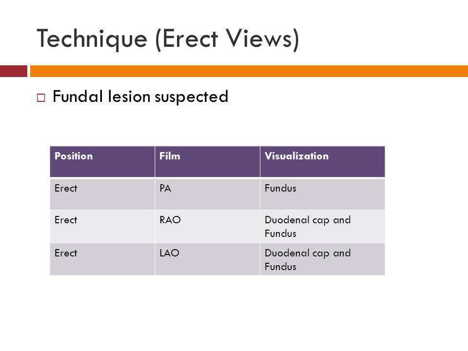 Technique (Erect Views) Fundal lesion suspected PositionFilmVisualization ErectPAFundus ErectRAODuodenal cap and Fundus ErectLAODuodenal cap and Fundu
