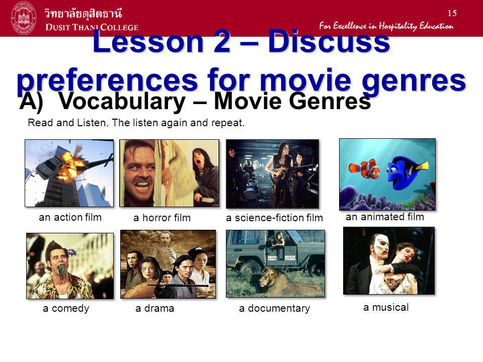 15 Lesson 2 – Discuss preferences for movie genres an action film a horror film a science-fiction film an animated film a comedy a drama a documentary