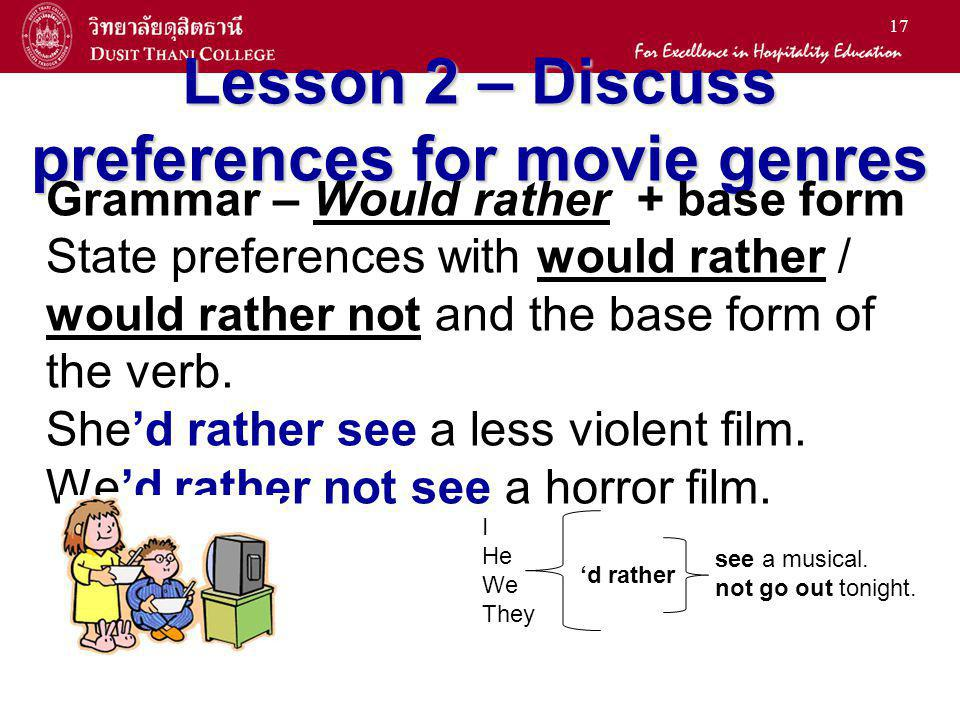 17 Lesson 2 – Discuss preferences for movie genres Grammar – Would rather + base form State preferences with would rather / would rather not and the b