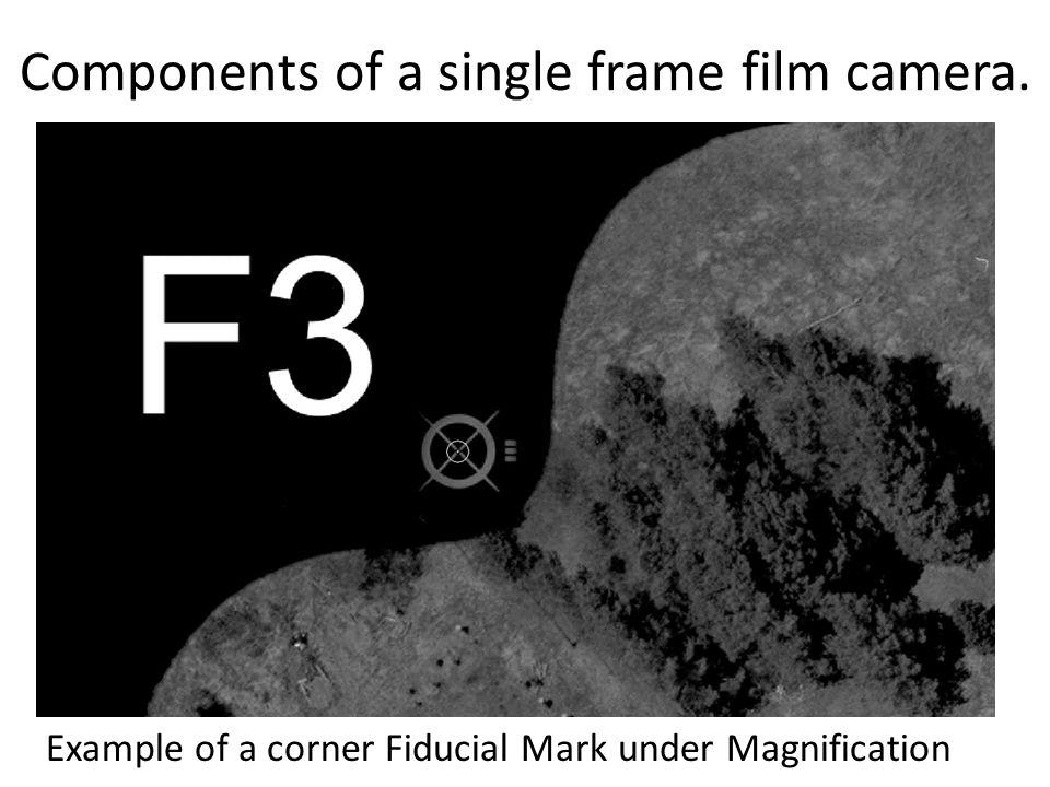 Components of a single frame film camera. Example of a corner Fiducial Mark under Magnification