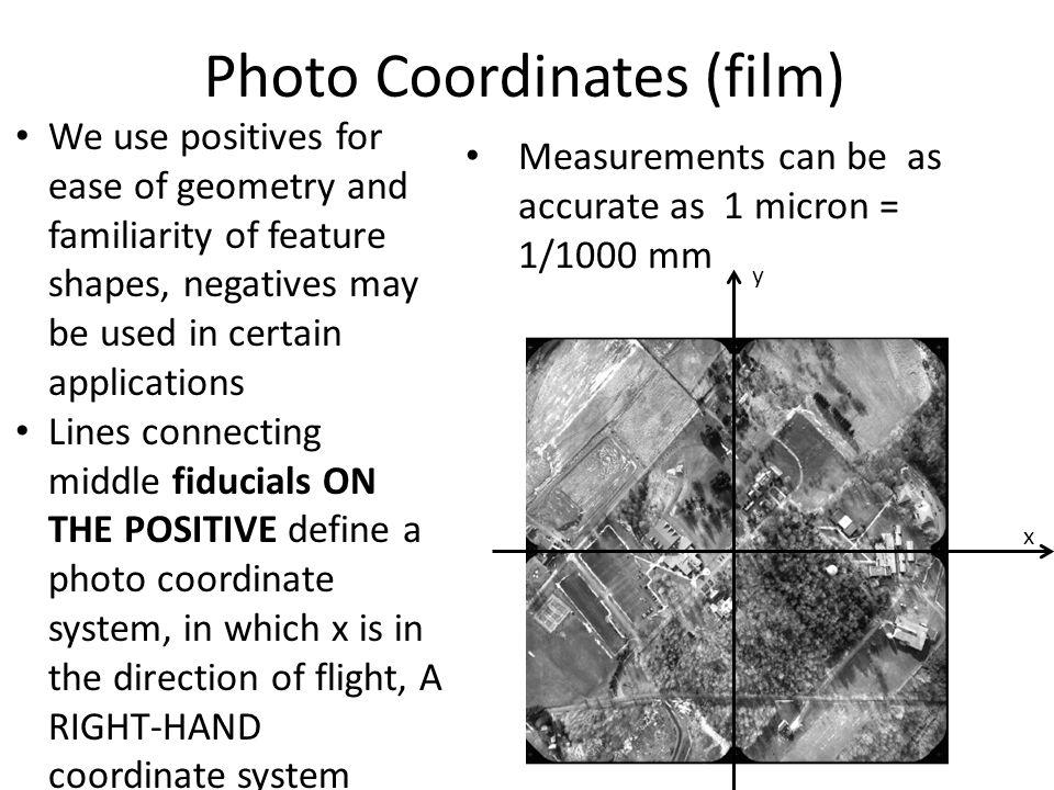 Photo Coordinates (film) We use positives for ease of geometry and familiarity of feature shapes, negatives may be used in certain applications Lines