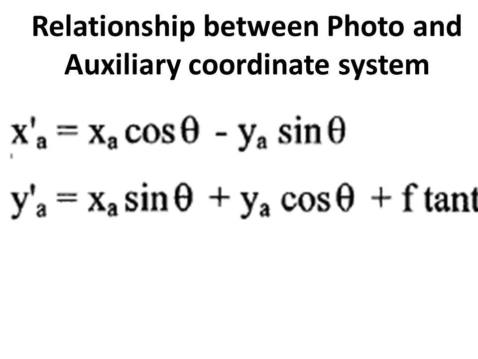 Relationship between Photo and Auxiliary coordinate system