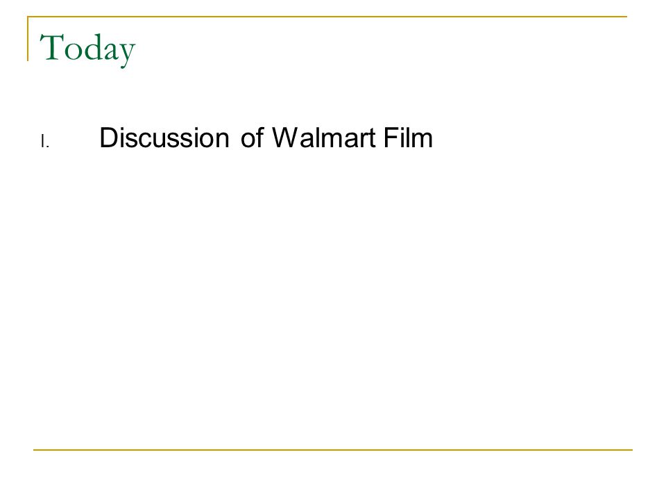 Today I. Discussion of Walmart Film