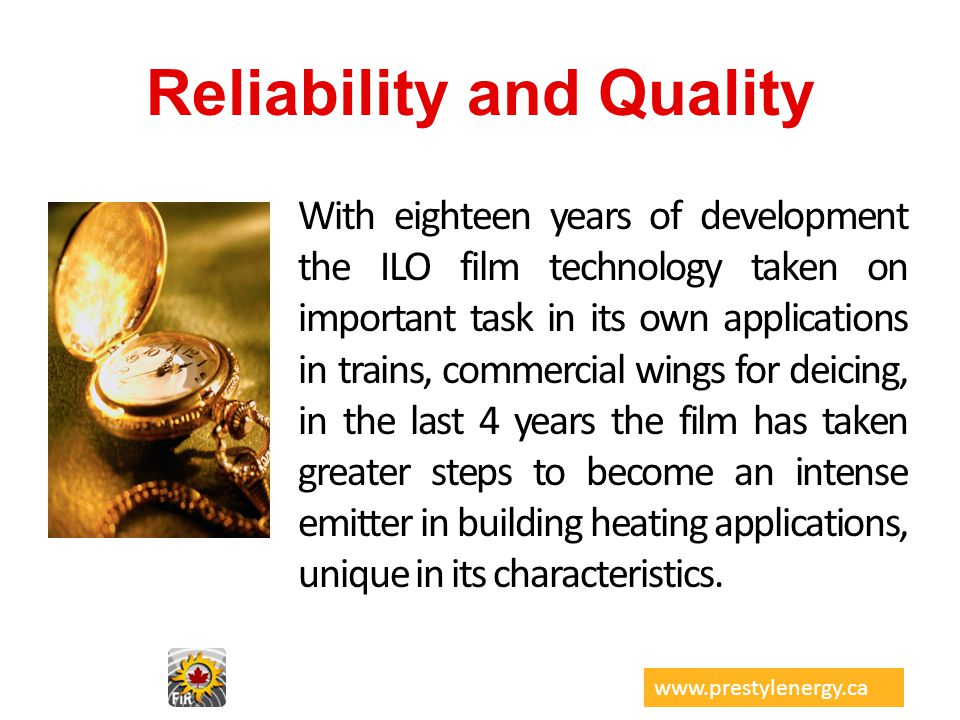 Reliability and Quality With eighteen years of development the ILO film technology taken on important task in its own applications in trains, commerci