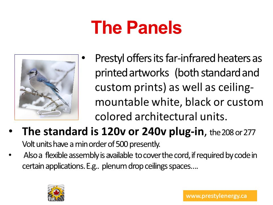 The Panels Prestyl offers its far-infrared heaters as printed artworks (both standard and custom prints) as well as ceiling- mountable white, black or