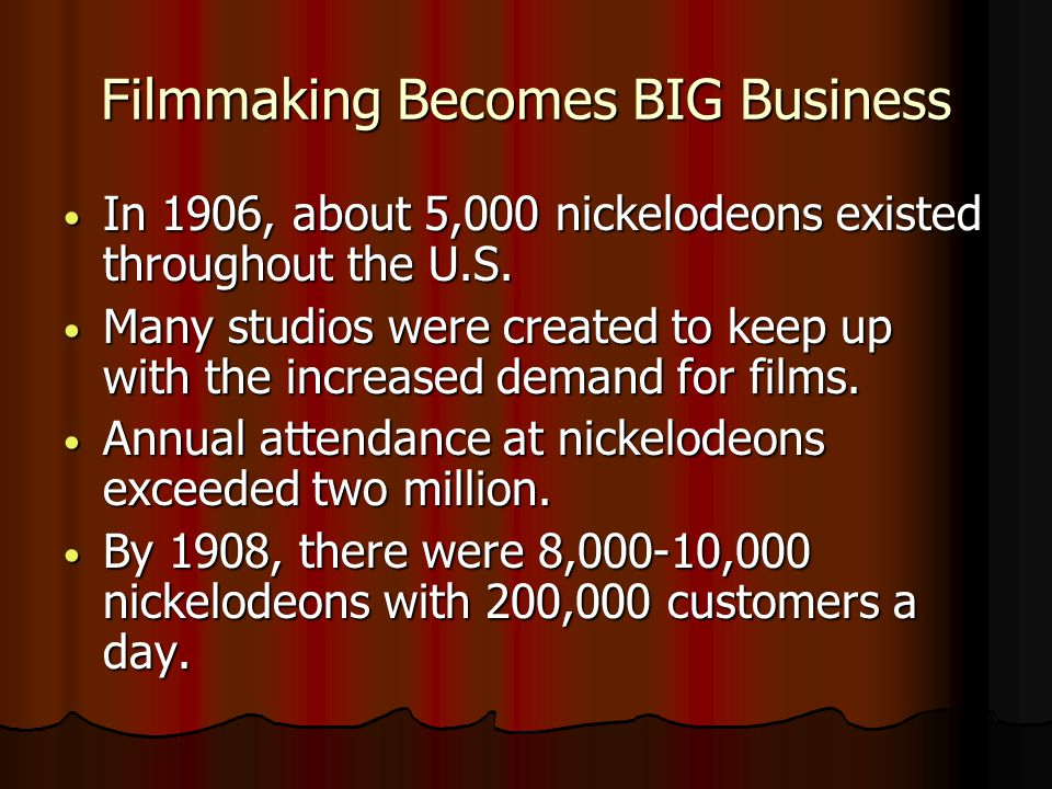 Filmmaking Becomes BIG Business In 1906, about 5,000 nickelodeons existed throughout the U.S.