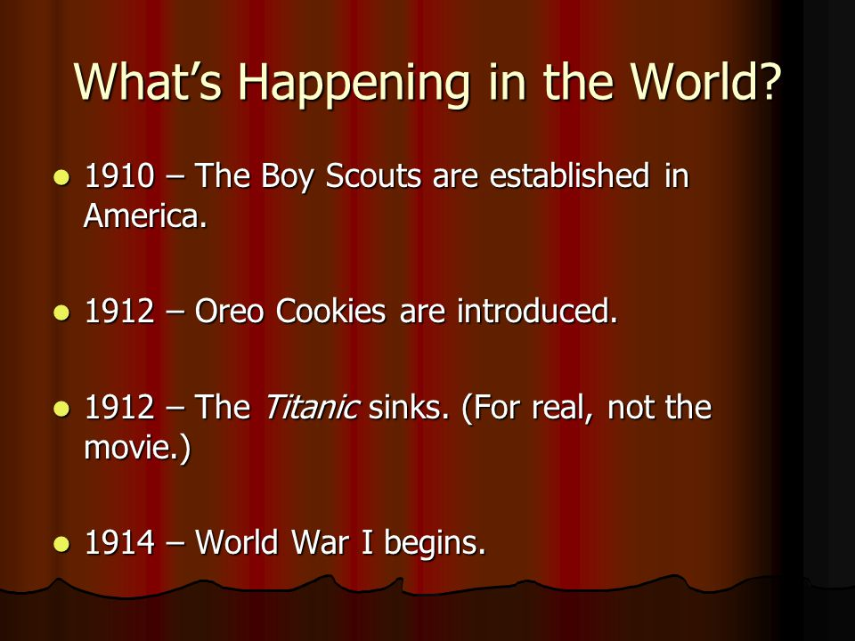 Whats Happening in the World.1910 – The Boy Scouts are established in America.