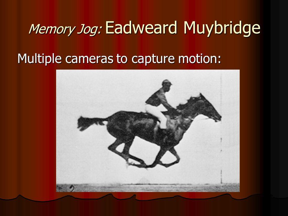 Memory Jog: Eadweard Muybridge Multiple cameras to capture motion: