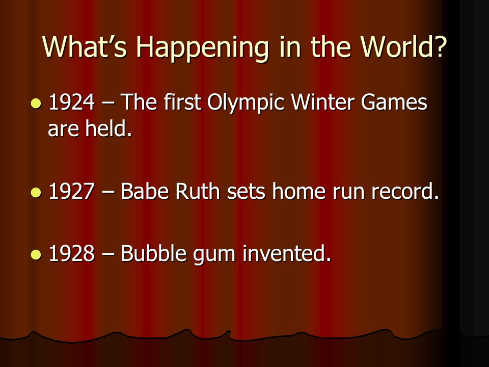 Whats Happening in the World.1924 – The first Olympic Winter Games are held.