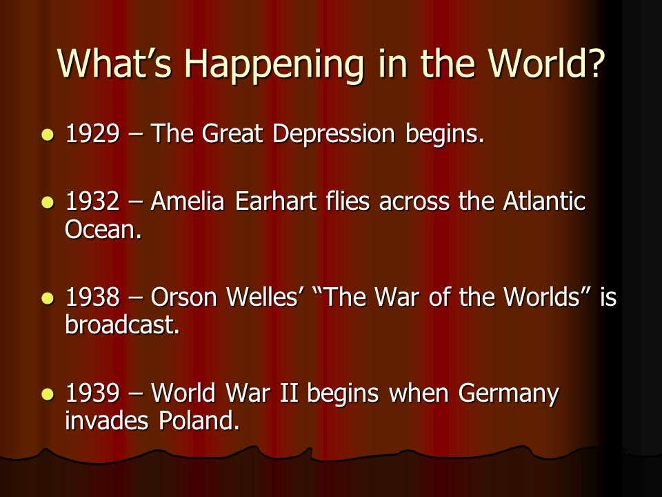 Whats Happening in the World.1929 – The Great Depression begins.