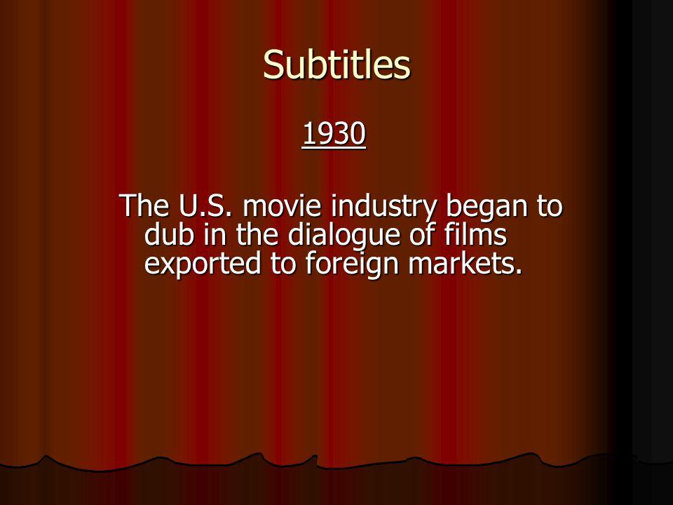 Subtitles 1930 1930 The U.S.